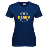 Ladies Navy T Shirt-Bears Baseball Seams