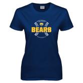 Ladies Navy T Shirt-Bears Baseball Seams