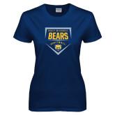 Ladies Navy T Shirt-Bears Softball Plate