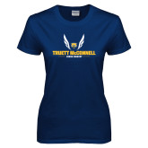 Ladies Navy T Shirt-Truett McConnell Cross Country Wings
