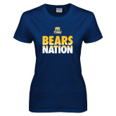 Ladies Navy T Shirt-Bears Nation
