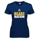Ladies Navy T Shirt-Bears Nation