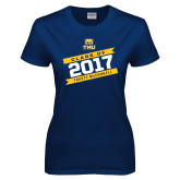 Ladies Navy T Shirt-Class Of - Slanted Banners, Personalized year