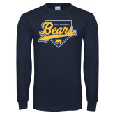 Navy Long Sleeve T Shirt-Bears Baseball Plate