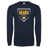 Navy Long Sleeve T Shirt-Bears Softball Plate