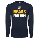 Navy Long Sleeve T Shirt-Bears Nation