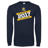 Navy Long Sleeve T Shirt-Class Of - Slanted Banners, Personalized year