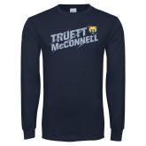 Navy Long Sleeve T Shirt-Truett McConnell Slanted Slashed