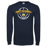 Navy Long Sleeve T Shirt-Truett McConnell Basketball Arched
