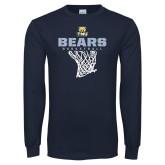 Navy Long Sleeve T Shirt-Bears Basketball Hanging Net