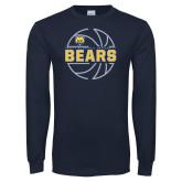 Navy Long Sleeve T Shirt-Bears Basketball Lined Ball