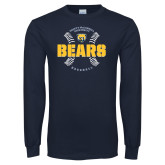 Navy Long Sleeve T Shirt-Bears Baseball Seams