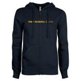 ENZA Ladies Navy Fleece Full Zip Hoodie-Truett McConnell Bears