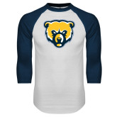 White/Navy Raglan Baseball T Shirt-Bear Head