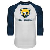White/Navy Raglan Baseball T Shirt-Bear Head Truett McConnell