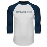 White/Navy Raglan Baseball T Shirt-Truett McConnell Bears