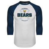 White/Navy Raglan Baseball T Shirt-Bears Baseball Seams