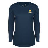 Ladies Syntrel Performance Navy Longsleeve Shirt-Primary Logo
