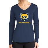 Ladies Syntrel Performance Navy Longsleeve Shirt-Bear Head Truett McConnell