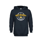 Youth Navy Fleece Hoodie-Truett McConnell Basketball Arched