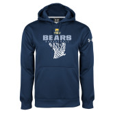 Under Armour Navy Performance Sweats Team Hoodie-Bears Basketball Hanging Net