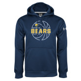 Under Armour Navy Performance Sweats Team Hoodie-Bears Basketball Lined Ball