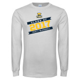 White Long Sleeve T Shirt-Class Of - Slanted Banners, Personalized year