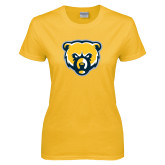 Ladies Gold T Shirt-Bear Head