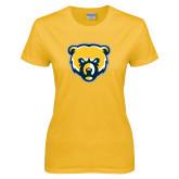Ladies Gold T Shirt-Bear Head