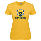 Ladies Gold T Shirt-Bear Head Truett McConnell