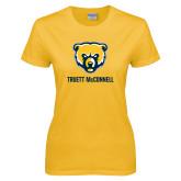 Ladies Gold T Shirt-Bear Head Truett McConnell