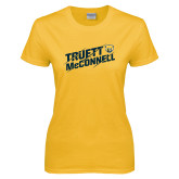 Ladies Gold T Shirt-Truett McConnell Slanted Slashed