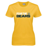 Ladies Gold T Shirt-Fear The Bears