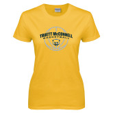 Ladies Gold T Shirt-Truett McConnell Basketball Arched