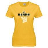 Ladies Gold T Shirt-Bears Basketball Hanging Net