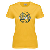 Ladies Gold T Shirt-Bears Basketball Lined Ball