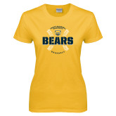 Ladies Gold T Shirt-Bears Baseball Seams