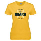 Ladies Gold T Shirt-Bears Baseball Seams