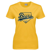 Ladies Gold T Shirt-Bears Baseball Plate