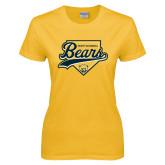 Ladies Gold T Shirt-Bears Baseball Plate