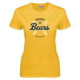 Ladies Gold T Shirt-Bears Softball Seams