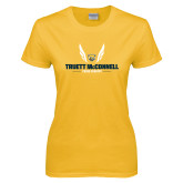 Ladies Gold T Shirt-Truett McConnell Cross Country Wings