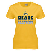 Ladies Gold T Shirt-Bears Nation