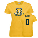 Ladies Gold T Shirt-Primary Logo, Custom Tee w/ Name and #