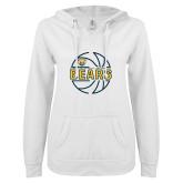ENZA Ladies White V Notch Raw Edge Fleece Hoodie-Bears Basketball Lined Ball