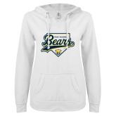 ENZA Ladies White V Notch Raw Edge Fleece Hoodie-Bears Baseball Plate