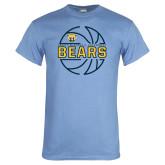 Light Blue T Shirt-Bears Basketball Lined Ball