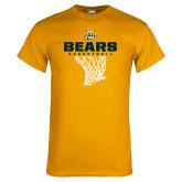 Gold T Shirt-Bears Basketball Hanging Net
