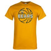Gold T Shirt-Bears Basketball Lined Ball