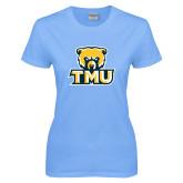 Ladies Sky Blue T-Shirt-Primary Logo